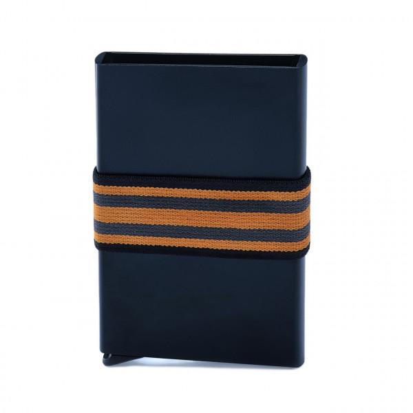 Mit Hebel, RFID-sicher: schwarz/oranges Tech-Wallet für Bankkarten in Alu mit Spanngurt