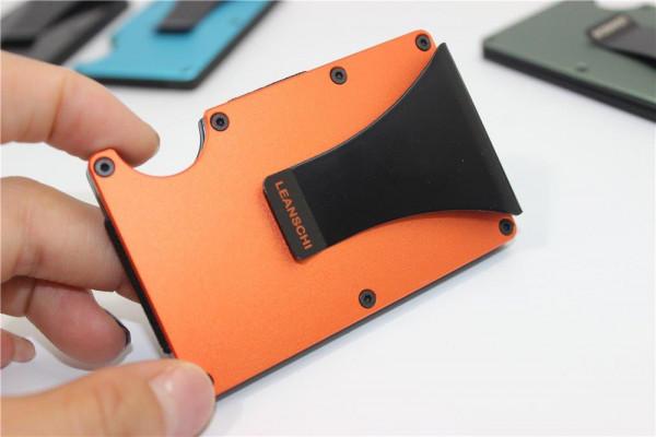 metall Karten-Halter mit Geldklammer in der Farbe ORANGE