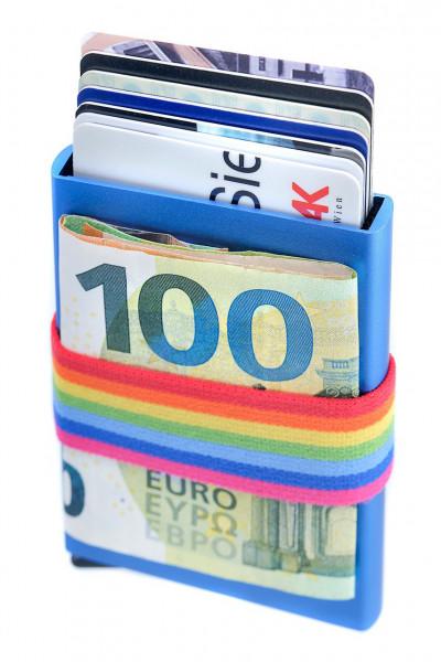 Mit Hebel, RFID-sicher : Tech-Wallet für Bankkarten in Alu mit Spanngurt | BLAU