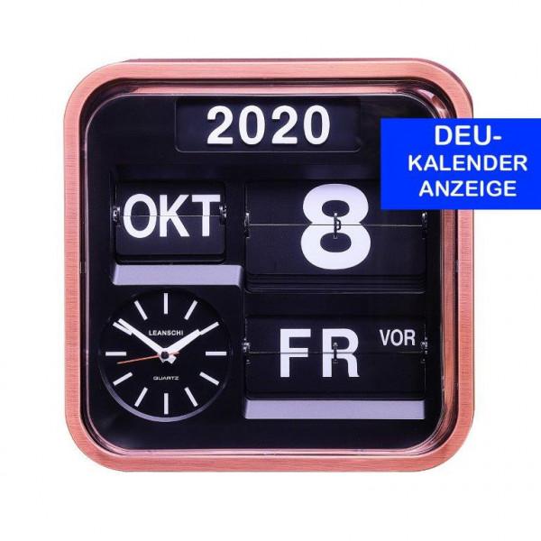 Large, vintage-looking, full ANNUAL CALENDAR and WALL-CLOCK with digital, flip-display (in GERMAN)
