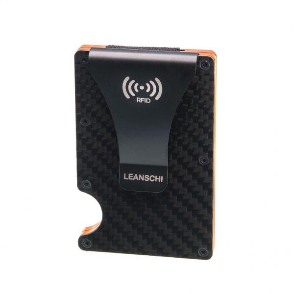 LEANSCHI Tech-Wallet: moderne Kreditkartenhalter aus schwarzer Kohlefaser, mit orangen Elementen, RFID-geschützt