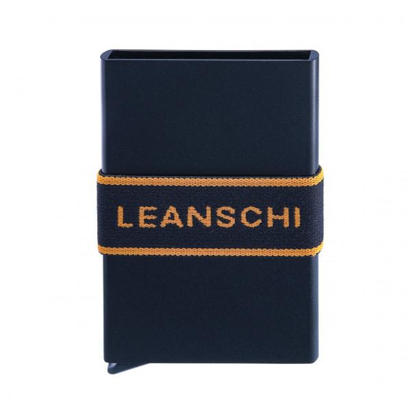 Mit Hebel, RFID-sicher : Tech-Wallet für Bankkarten in Alu mit Spanngurt | schwarz-orange