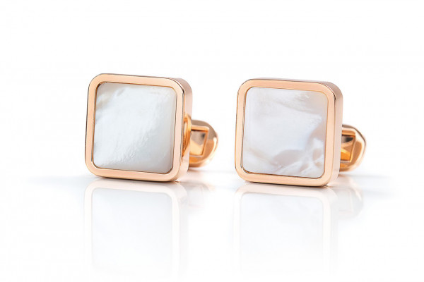Cufflinks in sterling silver rosegold-plated with white Mother-Of-Pearl