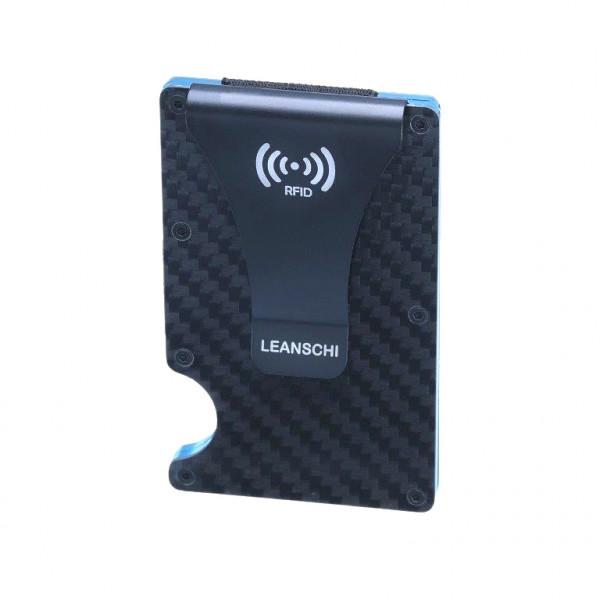 LEANSCHI Tech-Wallet: moderne Kreditkartenhalter aus schwarzer Kohlefaser, mit türkis Elementen, RFID-geschützt