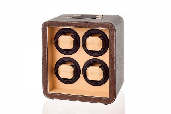 Watchwinder for 4 watches - many settings - Chocolate & cream