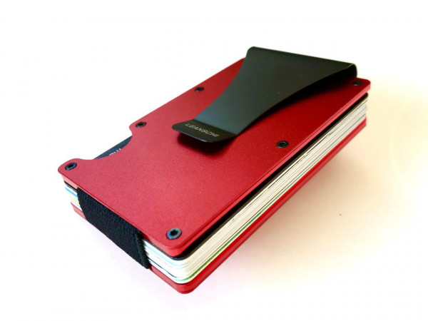 TECH-WALLET en ALUMINIUM ROUGE&Noir