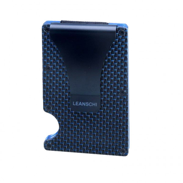 LEANSCHI Tech-Wallet: a modern credit-cards-holder from black and blue carbon fibre, RFID protected