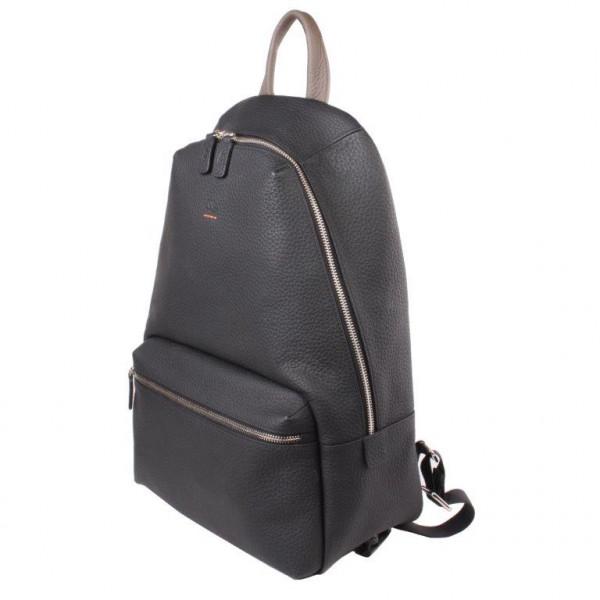Leder-Rucksack matt schwarz