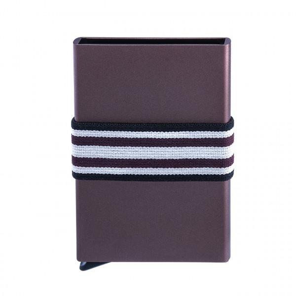 Tech-Wallet aluminium, tirette extracteur, bande jacquard élastique et protégé RFID | chocolat