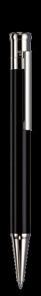 DESIGN 04   Kugelschreiber SCHWARZ-lackiert, platinierte Beschläge