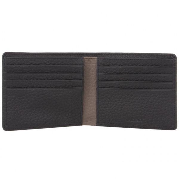 Flache Kreditkartenhalter für 8 Karten und Brieftasche im schwarzem Leder