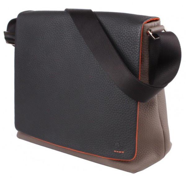 Messenger Leder-Tasche Größe M mit Tragegurt aus Textil