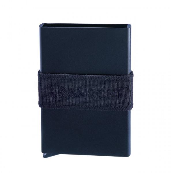 Mit Hebel, RFID-sicher : Tech-Wallet für Bankkarten in Alu mit Spanngurt | SCHWARZ