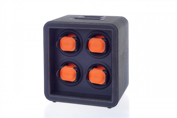 Watchwinder for 4 watches | various setting | Black & orange